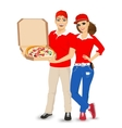pizza delivery guy and girl in red uniform vector image