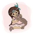 pocahontas love indian princess bear vector image