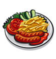 sausages with fries vector image vector image