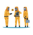scientists in protective suits working with vector image vector image