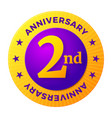 second anniversary badge gold celebration label vector image