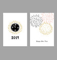 set of happy new year 2019 greeting cards party vector image