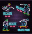 set of neon skate park sign on brick wall vector image