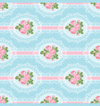 shabchic rose seamless pattern on blue vector image vector image