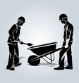 silhouette two workers vector image