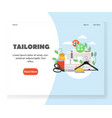 tailoring website landing page design vector image vector image