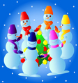 Texture of roundelay with snowmen vector image vector image