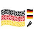 waving germany flag mosaic of human footprint vector image vector image
