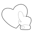 Heart touch icon outline style vector image