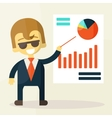Businessman looking at the graph vector image