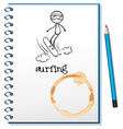 A notebook with a sketch of a person surfing vector image vector image