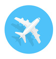 Airplane trendy icon Plane on a blue circle Flat vector image vector image