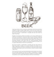 beer objects set hand drawn icons bottle glass vector image
