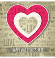 beige background with red valentine heart vector image vector image