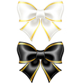 Black and white bows with golden edging vector image vector image