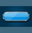 blue button on perforated background oval glass vector image vector image