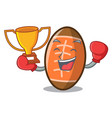boxing winner rugby ball mascot cartoon vector image vector image