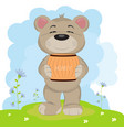 cartoon a cute happy bear carries a barrel of vector image