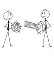 cartoon of two businessmen carrying bolt and nut vector image vector image