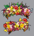 cartoon wreaths of colorful colors in two versions vector image
