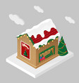 christmas market stall in isometric view vector image vector image
