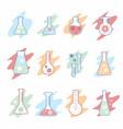 corona virus vaccine research flask icons set vector image vector image