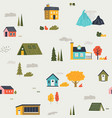 cute houses pattern funny cartoon kids seamless vector image