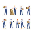 delivery men or couriers set flat vector image vector image