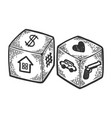 dice with different symbols engraving vector image