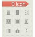 door icon set vector image vector image