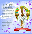 easter cross with flowers cartoon festive poster vector image vector image