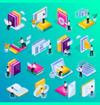 education isometric icon set vector image vector image