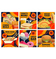 fast food combo meals sale promo posters set vector image vector image