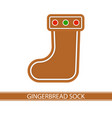 gingerbread christmas sock vector image vector image