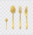 golden cutlery set silver fork spoon and knife vector image vector image