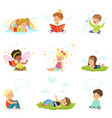 happy and lovely children play and dream cartoon vector image vector image
