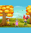 happy children playing with wooden basket in farm vector image vector image