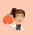 happy girl holding pumpkin waiting for autumn vector image