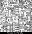 houses in the city sketch doodle style vector image