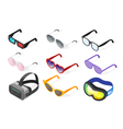 Isometric 3d set of glasses vector image