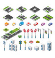 isometric set building houses icons blocks vector image vector image