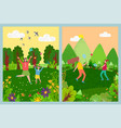 kids playing badminton running with net vector image