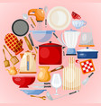 kitchen utensils and tool round vector image vector image