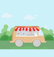 meat bus fresh food delivery vector image