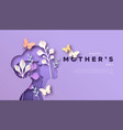 mothers day mom and kid papercut card template vector image vector image