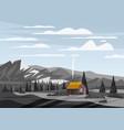 mountain landscape valley rural countryside farm vector image vector image
