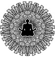 person sitting in lotus pose silhouette vector image