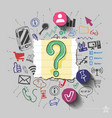 Question mark and collage with web icons vector image vector image