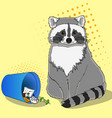 raccoon eats from the trash a garbage can of vector image