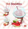Set of three red smoothie in a plastic cup with vector image vector image